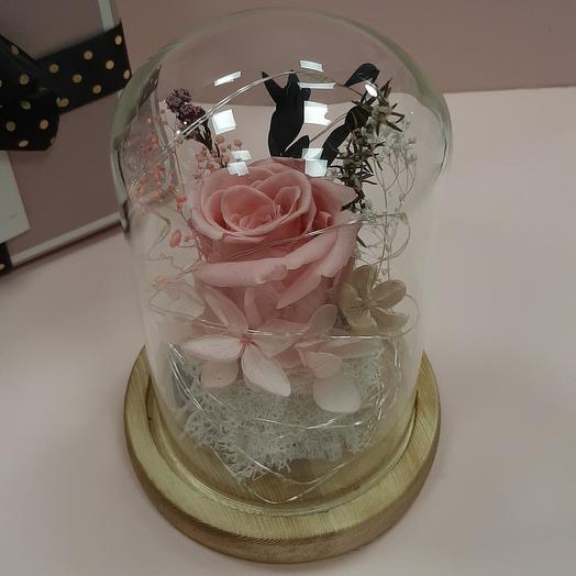 Роза в колбе мини с подсветкой