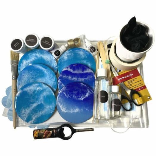 nekorobka «море resin art» / Набор для творческого мастер-класса по рисованию эпоксидной смолой / техника resin art