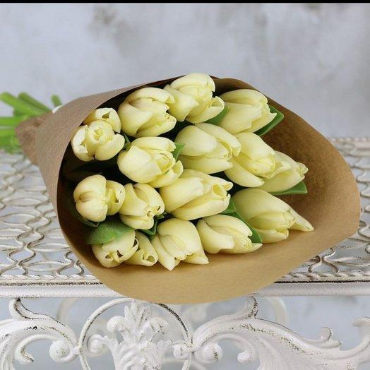 15 белых тюльпанов: букеты цветов на заказ Flowwow