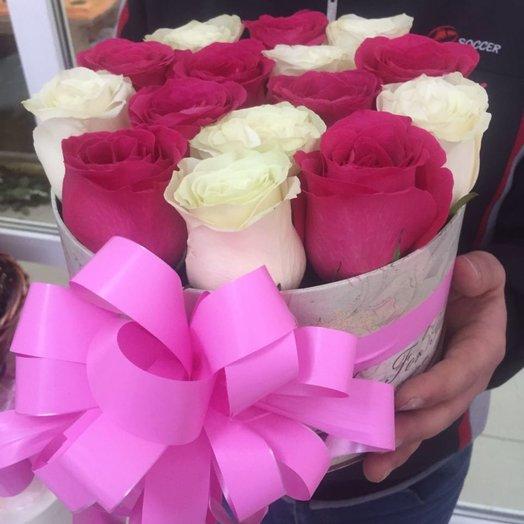 Коробка 15 голландских роз микс: букеты цветов на заказ Flowwow
