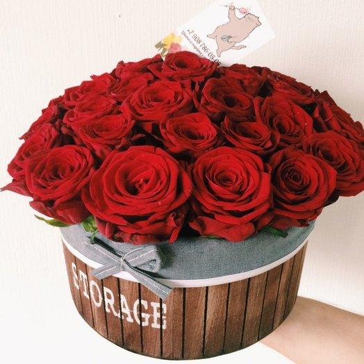 Деревяное кашпо с розами: букеты цветов на заказ Flowwow