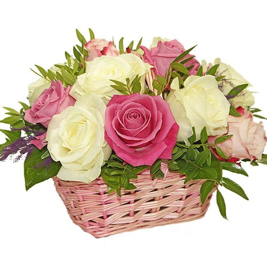 "Basket ""pink and White roses."" Code 180085: flowers to order Flowwow"