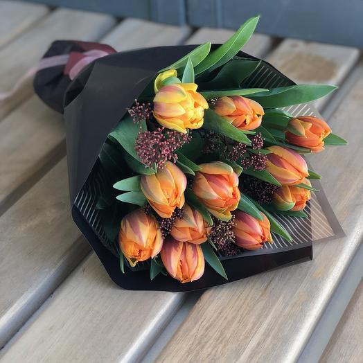 "Букет тюльпанов ""оранжевое солнце"": букеты цветов на заказ Flowwow"