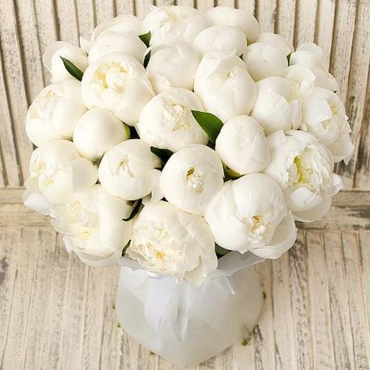 25 белых пионов в букете: букеты цветов на заказ Flowwow