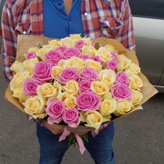 Букет из роз. 51 кремово-розовая роза: букеты цветов на заказ Flowwow