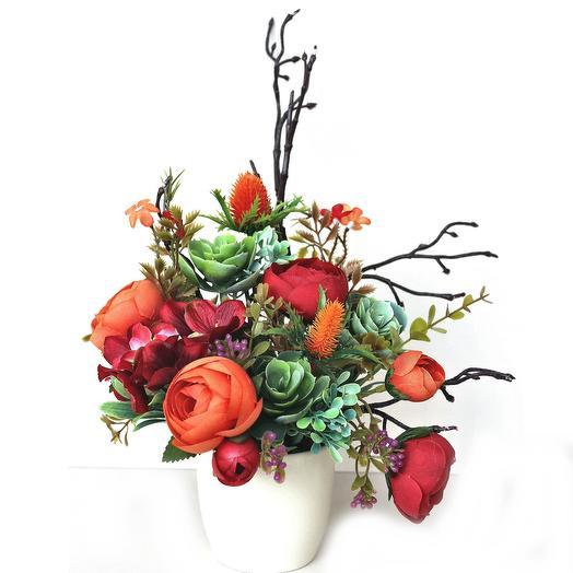 Композиция из искусственных цветов 400664: букеты цветов на заказ Flowwow