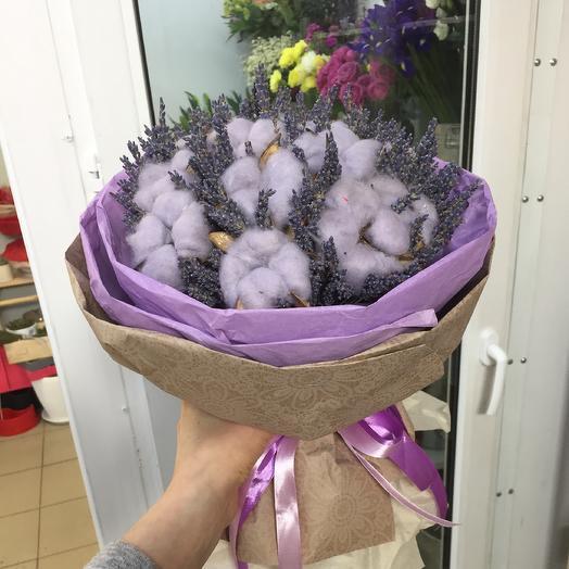 Букет с лавандой и хлопком: букеты цветов на заказ Flowwow