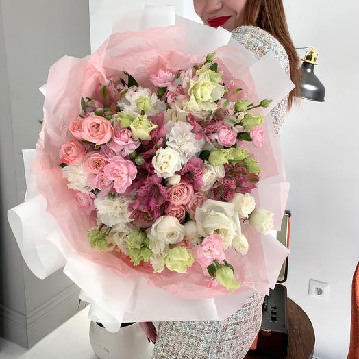 Author's bouquet with bushy peony rose and Alstroemeria