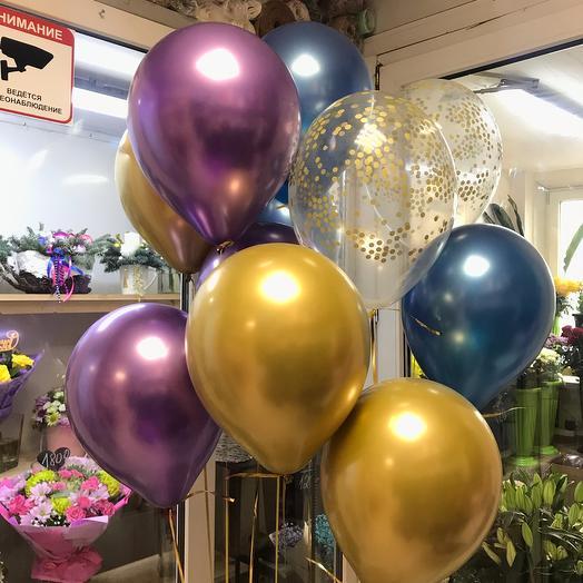 15 воздушных шаров хром
