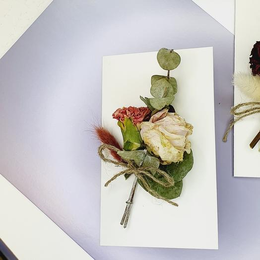 """Открытка с сухоцветами ручной работы """"Pink"""""""