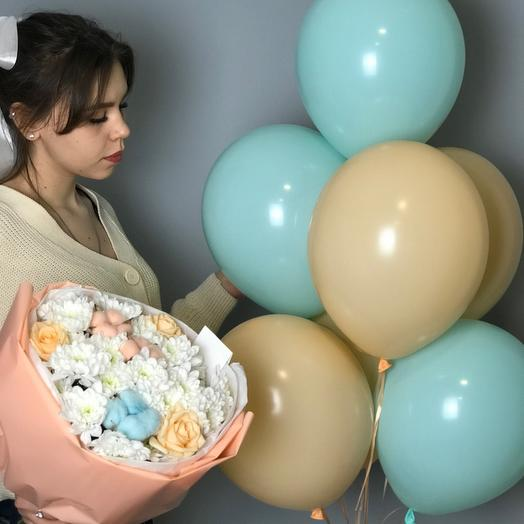 Bouquet and balloons for your loved ones