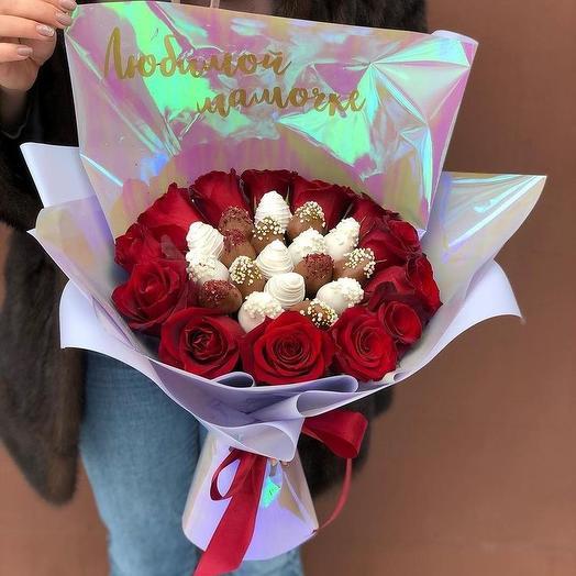 Клубничный букет с розами