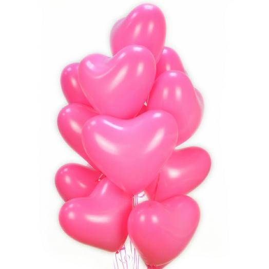 Фонтан из 11 розовых сердечек