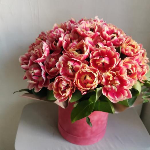 Цветы в коробке 25 тюльпанов