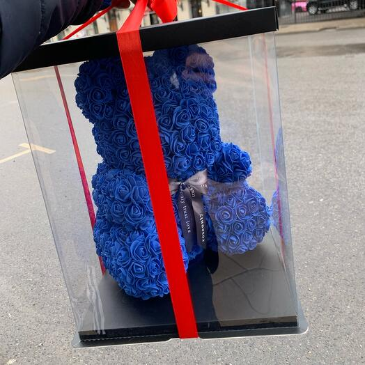 Мишка из роз 42 см синий