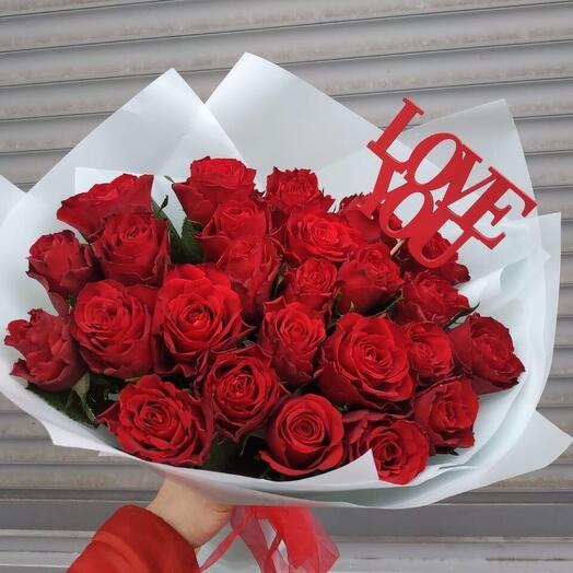 Букет из бордовых 25 роз