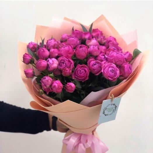 Букет 25 пионовидных мелкоцветный роз Баблгам