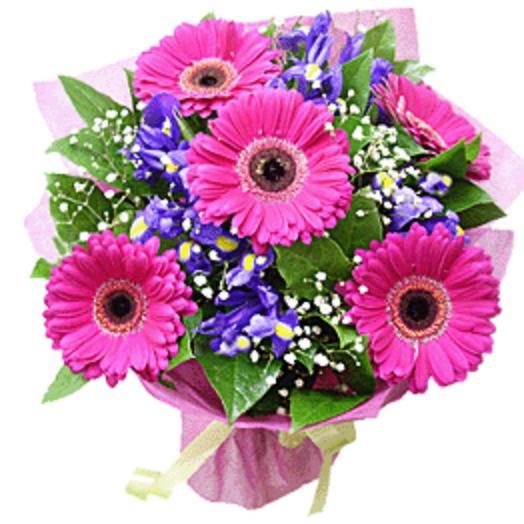 Герберы и ирисы: букеты цветов на заказ Flowwow