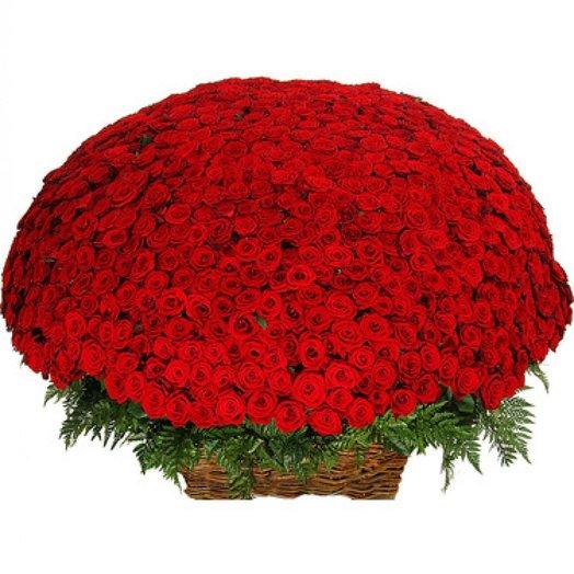 Корзина 1001 роза: букеты цветов на заказ Flowwow