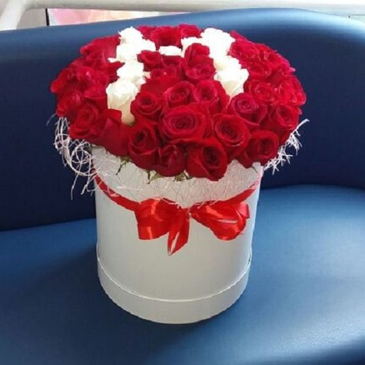 51 red rose in a tall box: flowers to order Flowwow