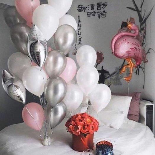 """Воздушная композиция """"Розовый фламинго!"""": букеты цветов на заказ Flowwow"""
