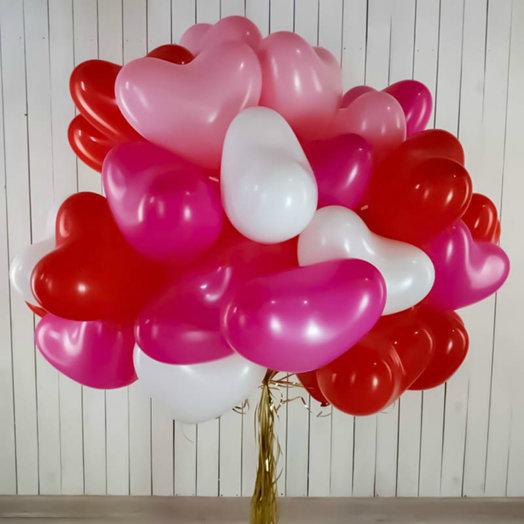 Воздушные сердца ассорти: букеты цветов на заказ Flowwow