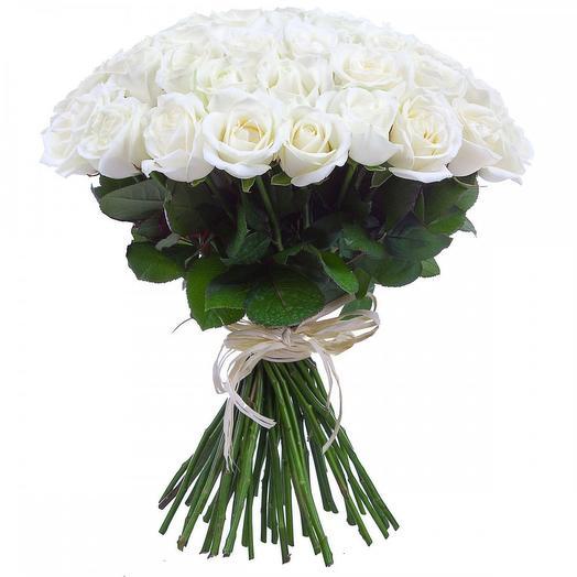Букет из 51 белой розы 40 см