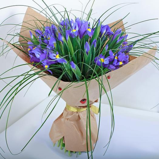39 ирисов в крафте и травке: букеты цветов на заказ Flowwow