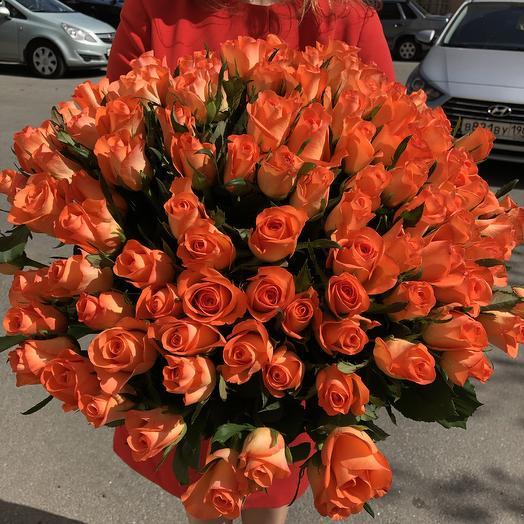 101 огненная роза: букеты цветов на заказ Flowwow