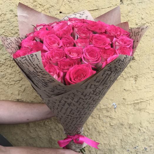 Букет из 39 бело-розовой розы 70 см: букеты цветов на заказ Flowwow