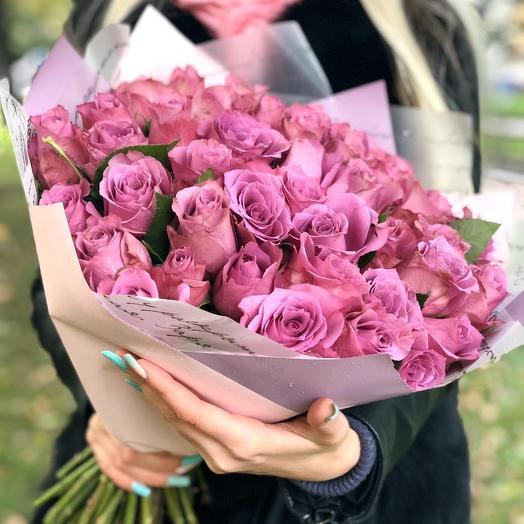 51 сиреневая роза: букеты цветов на заказ Flowwow