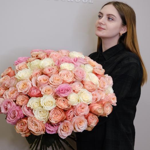 Шикарный нежный букет роз