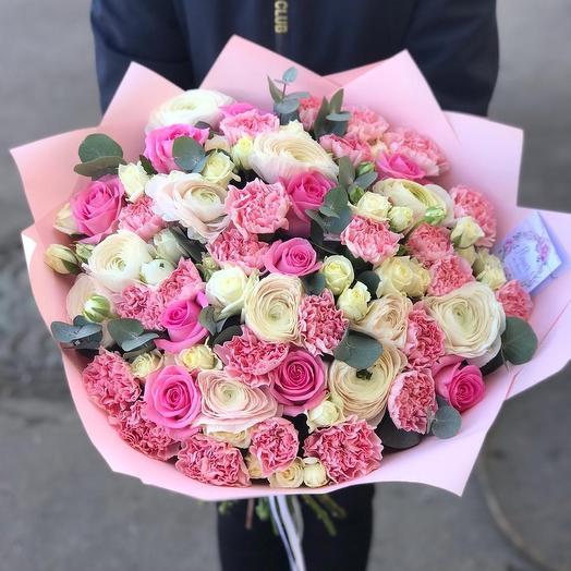 Микс букет в нежных тонах: букеты цветов на заказ Flowwow