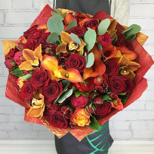 """Букет из роз и орхидей """"Дышу тобой"""""""