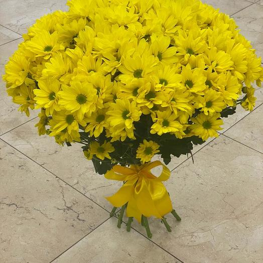 Букет из 15 жёлтых хризантем кустовых: букеты цветов на заказ Flowwow