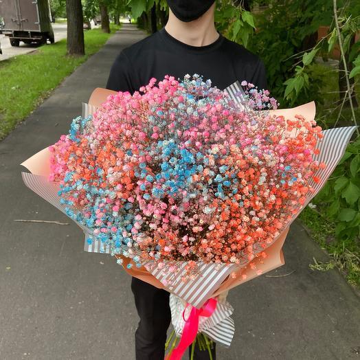 Букет 13 цветных гипсофил «Воздушный поцелуй»: букеты цветов на заказ Flowwow