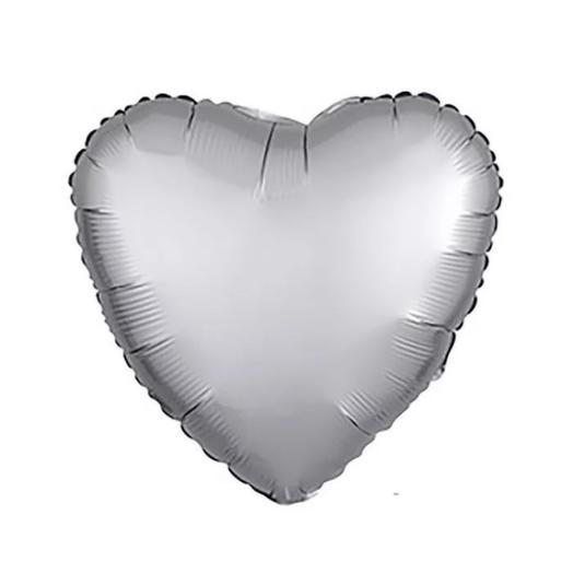 Rosalina - шар фольгированный с гелием в форме сердца серебряный