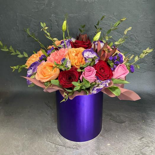 Flowers in a box violet
