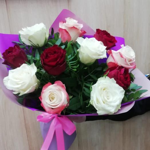 Букет моно Розы микс