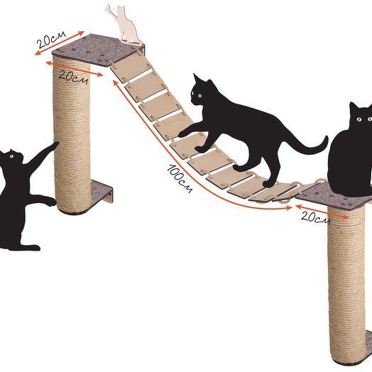 Настенный игровой комплекс для кошек Хвостович 105, цвет: бежевый