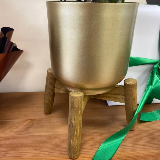 Кашпо золотое на деревянных ножках