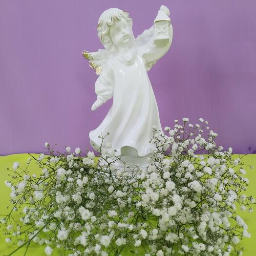 Статуэтка ангел с фонарём