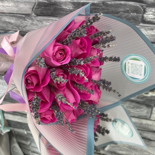 19 роз с лавандой