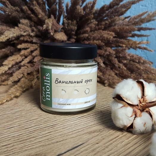Ароматическая свеча ручной работы из кокосового воска с сухоцветами / Ванильный орех / 200 мл
