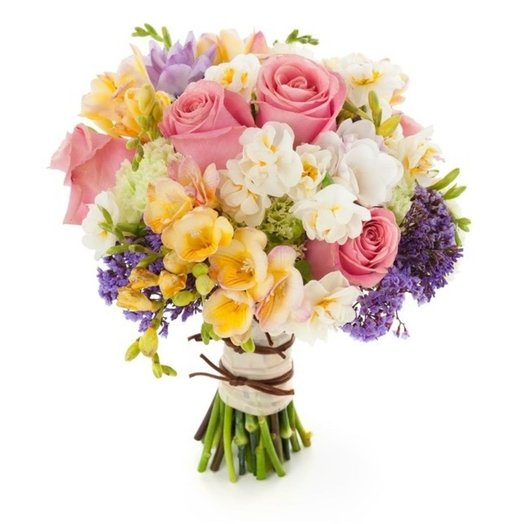 Pink roses and mixed freesias: flowers to order Flowwow