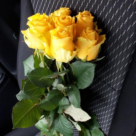 Букет из 7 желтых голландских роз 70 см: букеты цветов на заказ Flowwow