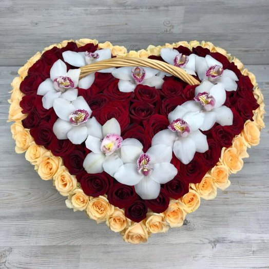 Корзины с цветами. Розы, Орхидеи . Сердце из роз. N1
