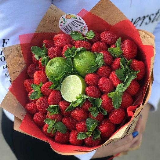 Букеты из фруктов. 🍓Клубника🍓, лайм🍋 , мята. N231: букеты цветов на заказ Flowwow