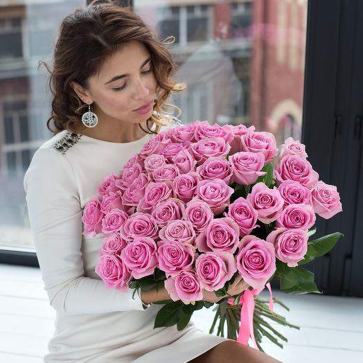 Bouquet of 35 pink roses: flowers to order Flowwow