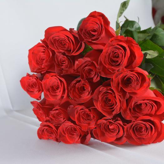 19 красных роз 70 см в букете (Эквадор): букеты цветов на заказ Flowwow